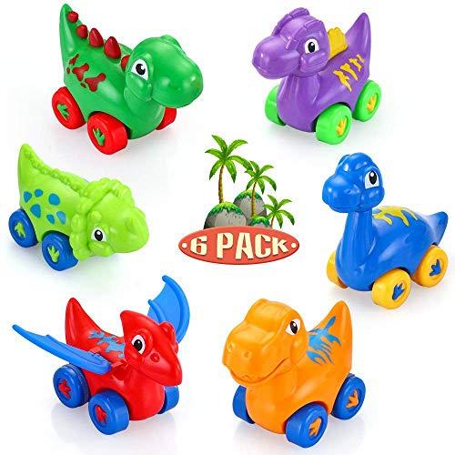 VATOS Baby Dinosaurier Spielzeugauto, 6er Pack Zurückziehen Auto für 1 2 3 Jahre alte Jungen & Mädchen, Mini Spielzeug Tierreibungsgetriebenes Auto ziehen Fahrzeug Tierauto für Geschenk Kinder (Jungen Spielzeug Alter 2)