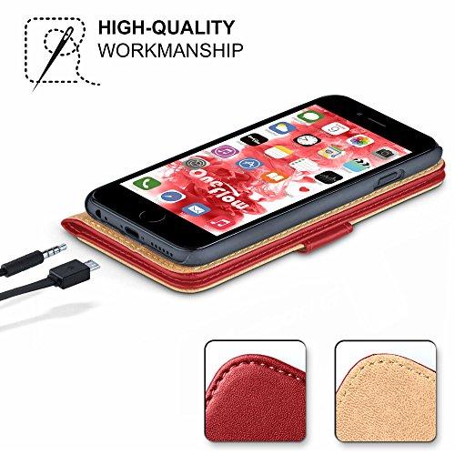 iPhone 5S Hülle Grün mit Karten-Fach [OneFlow 360° Book Klapp-Hülle] Handytasche Kunst-Leder Handyhülle für iPhone 5/5S/SE Case Flip Cover Schutzhülle Tasche BLAZING-RED