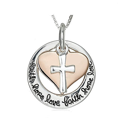 Majesto Katholische Kreuz religiöse inspirierende Halskette Liebe Herz Damen Mutter kleines Mädchen Teenager - Geschenk Schmuck Zubehör 18 Karat - Katholische Hochzeit Geschenke
