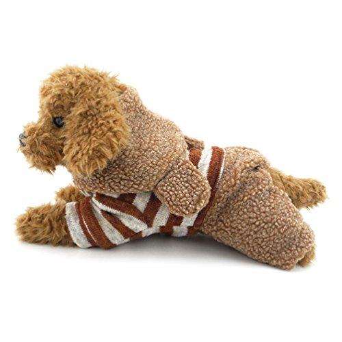 Fleece Hund Pullover Coat Stripped Bunny Kapuzen Winter Kleiner Hund Kleidung, groß, Braun ()