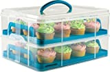 Andrew James Cupcake Carrier And Cake Holder, 2 Tier, Adjustable, Holds 24