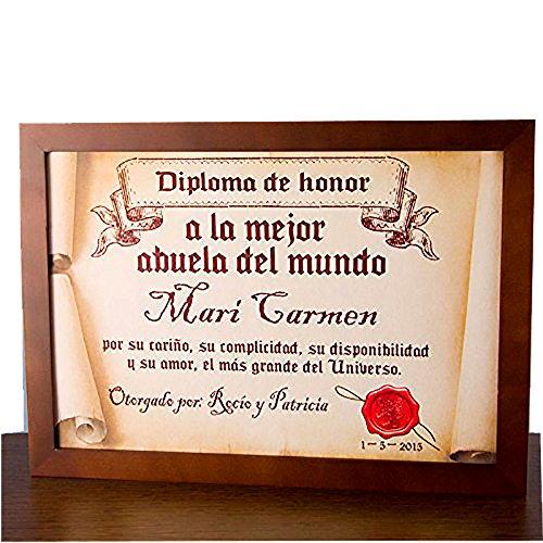 Regalo para abuelas personalizable: diploma pergamino 'a la mejor abuela del mundo' personalizado con su nombre, dedicatoria, firma y fecha