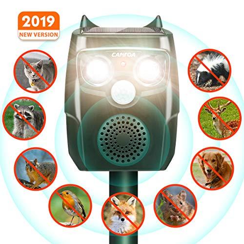 CAMTOA Tiervertreiber, Solar Katzenschreck, Ultraschall Abwehr-Wasserdicht, mit Batteriebetrieben und Blitz, 4 In 1 Upgrade Automatischer, Marderschreck, Abwehrmittel für Garten