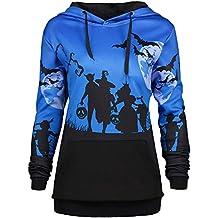 Camisetas de Halloween, BaZhaHei, Mujer Camisetas con Capucha de Luna de Halloween murciélago de