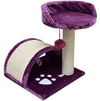 eyepower Katzenkratzbaum Cindy Purpur 44cm Natursisal Plüsch Katzen Kratzbrett Tier-Spielzeug