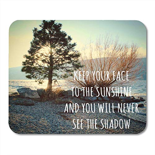 Mouse Pads Inspirational Quote on Lake Landscape Sunshine Through Tree Shore at Sunset Alongside of Bare Branches Mouse Pad Mats 9.5' x 7.9' for Notebooks,Desktop Computers Office Supplies