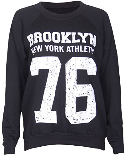 Femme Brooklyn 76 affligée par Imprimer longue équipage manches décolleté jersey un Sweatshirt - s / m (36/38) et m / l (40/42) Noir