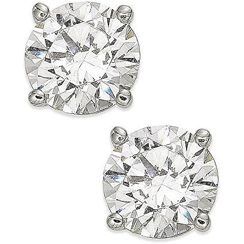 G&S Diamonds - Orecchini da donna a bottone, in oro bianco 8 kt, con brillanti, qualità premium