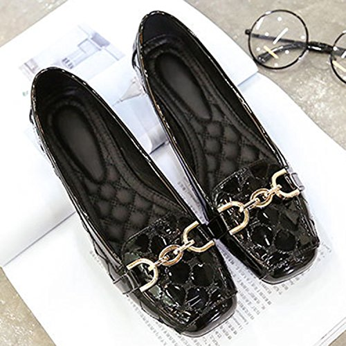 Oasap Women's Square Toe Metal Buckle Decoration Flat Heels Shoes Black