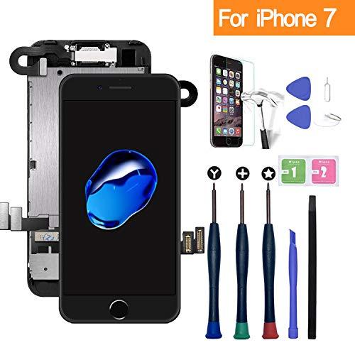 xlhama display lcd touch screen per iphone 7 nero con fotocamera frontale, altoparlante sensore di prossimità, strumenti e lastra di vetro temperato guarda l'installazione video