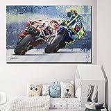 REDWPQ Motociclista Poster Motociclista Road Racer Pittura Stampa Immagini Immagini murali per Soggiorno Decorazioni per la casa 40 * 60 cm Senza Cornice