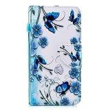 Kompatibel mit Xiaomi Mi 6, Herbests Leder Tasche Flip Handyhülle Wallet Leder Klapphülle Brieftasche mit Kartenfach Handy Schutzhülle Book Case Lederhülle,Schmetterling Blumen