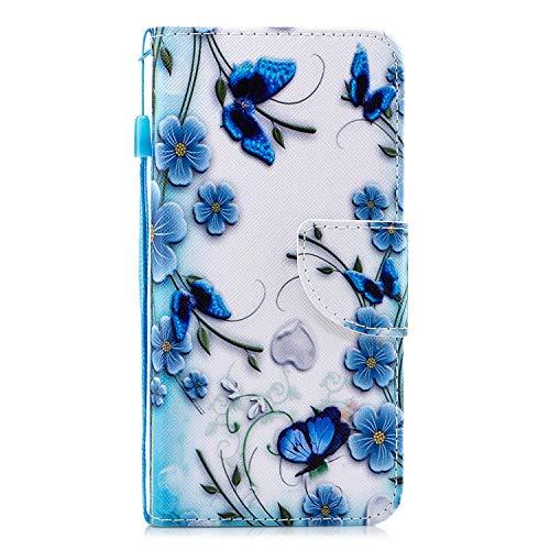 Herbests Kompatibel mit Xiaomi Mi 6, Leder Tasche Flip Handyhülle Wallet Leder Klapphülle Brieftasche mit Kartenfach Handy Schutzhülle Book Case Lederhülle,Schmetterling Blumen