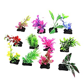 Aquarium 4″ Artificial Colorful Plastic Underwater Plants 12 Pcs 51s3BFSA8QL