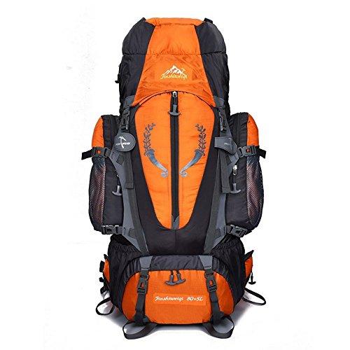 AaaSue – Mochila para montañismo, 85 L, Alta Capacidad, para Senderismo, Escalada, Acampada, Impermeable, Color Naranja