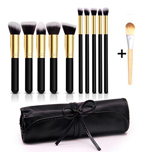 Pinceaux Maquillage Professionnel 10 PCS Noir et Doré Blush Fondation Pinceau Poudre Fond de teint Anti-cerne Kit Pinceaux avec sac (Style 1)
