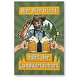 Bier trinkt hilft der Landwirtschaft, PVC Schild mit Spruch - lustiges Geschenk für ihn, Geschenkidee Geburtstagsgeschenk Männer / Jungs, Party Deko Zubehör, Scherzartikel für JGA - Accessoire Fotobox