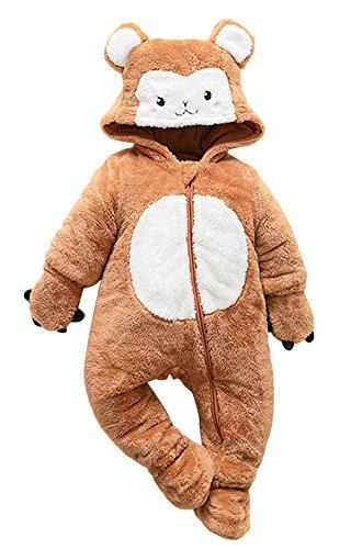Agares Baby Mädchen Jungen Fleece Overall Winter Strampler Jumpsuit Karneval Fasching Kostüme (AFFE, 3-6 ()