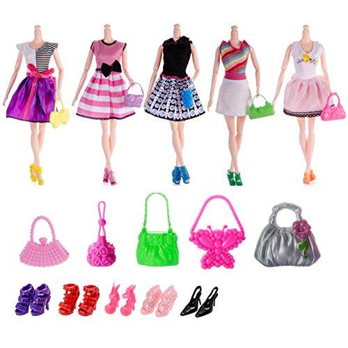 Preisvergleich Produktbild Barbie-Puppe Zusätze = 5pcs handgemachtes Hochzeits-Kleid + 10 Paare Schuhe + 10pcs Handtaschen-Schulterbeutel