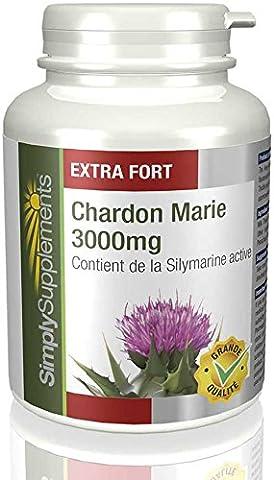 Chardon-Marie 3000mg 120 Comprimés | 80% d'extrait de Silymarine | Favorise la disgestion | Fabriqué au Royaume-Uni