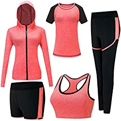 Zetiy Femmes 5 Pièces Ensembles Sportswear Yoga Gym Tenues Survêtement (Orange, Small)