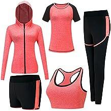 Zetiy Femmes 5 Pièces Ensembles Sportswear Costumes de Sport Gym Yoga  Athletisme Fitness Jogging Survêtement b0bd1caf6905
