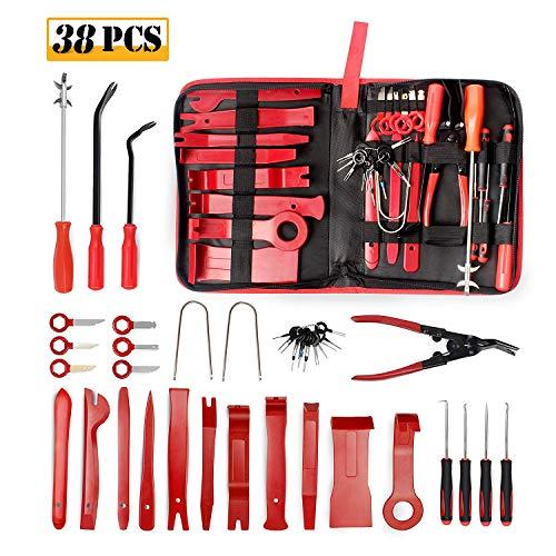 OUTON Demontage Werkzeug Auto 38 Stück, Zierleistenkeile-Set Ausbauwerkzeug Pry Tool Kit mit Aufbewahrungstasche, Zubehör Befestigung Clips Removal Reparatur Werkzeuge