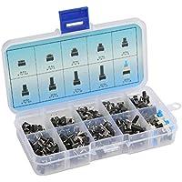 QLOUNI Kit de 180pcs Botón de Interruptor de Inserción Micro de 10 Tamaños Diferentes