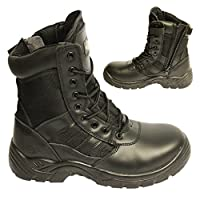 POWCOG Delta: Comfortable Black Leather Military Patrol Combat Boots with Sturdy Side Zip and Safety Steel Toe Cap