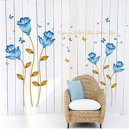 HAJKSDS Blaue Blumen 3D Wandaufkleber Romantik Dekoration Wand Wohnkultur DIY Hochwertige Poster Wohnkultur Blume Kunst Wandtattoos
