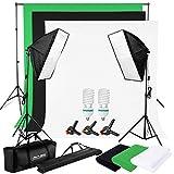 BPS Profi Komplettes Fotostudio Set 1250W 5500K Fotografie Studio Dauerlicht Leuchte inkl.2 Fotolampe + 2 Softbox Set + Hintergrund System + Stativ + Hintergrundstoff (Weiß Schwarz Grün)+ Tragtasche + Studioklemmen