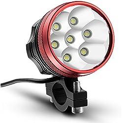 Kingtop - Faro delantero para bicicleta, 11000 mAh, 10000lm, Faro MTB 7 x Cree LED XM-L T6, con 3 modos, impermeable, LED recargable – Color rojo