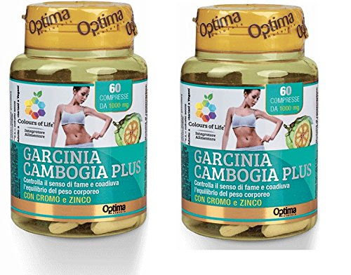 OPTIMA - GARCINIA CAMBOGIA PLUS 2 CONF DA 60 COMPRESSE DA 1000 MG - Controlla il senso di fame e coadiuva l'equilibrio del peso corporeo