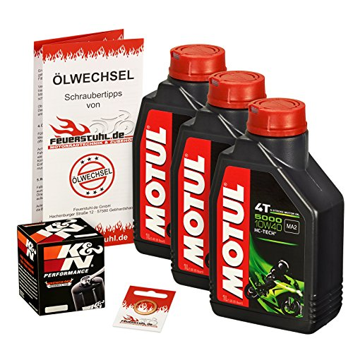 Preisvergleich Produktbild Ölwechselset Motul 5000 10W-40 Öl + K&N Ölfilter für YZF-R6 / S Edition,  Bj. 06-15 (Typ RJ11 RJ15); Motoröl + Filter + Dichtring