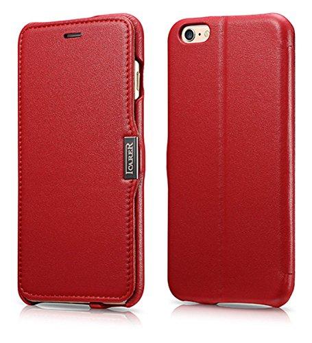 Luxus Tasche für Apple iPhone 6S Plus und iPhone 6 Plus (5.5 Zoll) / Case Außenseite aus Echt-Leder / Innenseite aus Textil / Schutz-Hülle seitlich aufklappbar / ultra-slim Cover / Hülle mit Standfunktion / Farbe: Rot - Plus Iphone Telefonieren 6