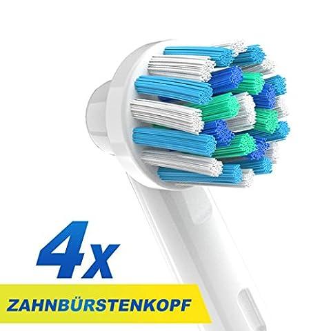 CARETIST Crossaction Aufsteckbürsten für Oral B Elektrische Zahnbürsten 4-er Pack. Cross Action Zahnbürstenaufsätze ist voll kompatibel mit Braun Oralb Vitality, Pro Health, TriZone, Advance Power, Professional Care, Triumph und Deep