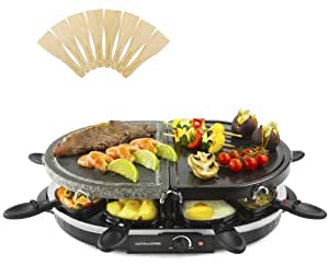 Andrew James Half Stone Half Traditional Raclette Grill With Thermostatic Heat Control And Eight Raclette Spatulas - Ideal For Social Entertaining And Family Meals, Includes 2 Year Warranty