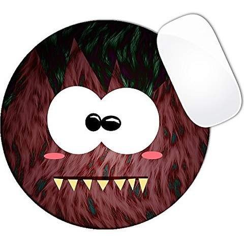 Strawberry Hairy Monster With Teeth Mouse Pad (ROUND)