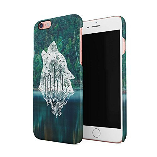 Emerald Howling Wolf Head Forests River Custodia Posteriore Sottile In Plastica Rigida Cover Per iPhone 6 & iPhone 6s Slim Fit Hard Case Cover Howling Wolf