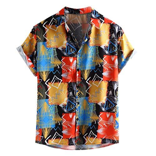 MOTOCO Men's Color Printed Short Sleeve Shirt Top(L,Multicoloured)