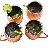 Deik Moscow Mule Becher, Set 4, Kupferbecher Moscow Mule Mug Kupfer Becher, Handgemachter Rein, 530ml, Effekt Geschenk
