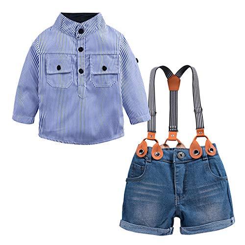 Alwayswin Kleinkind Kinder Baby Jungen Taufe Kleidung Outfits Langarm Shirt Denim Overalls Outfit Set Blau Gestreiften Shirt Top Jeansshorts Mode Cool Party Babykleidung