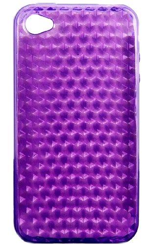 Neues Modell - Silikon Hülle Schutzhülle Rückschale Diamant-Case Cover für Apple iPhone 4 / 4S /4G - Orange Diamant - Violett