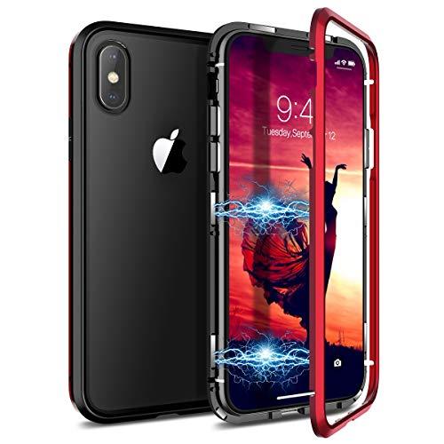 CE-Link Kompatibel mit iPhone X Hülle iPhone XS Hülle Glas mit Magnetisch Panzerglas Rückseite Durchsichtig Handyhülle Transparent Hard Case Ultra Slim Dünn 360 Grad Full Body - Rot + Schwarz - Ultra-slim-link