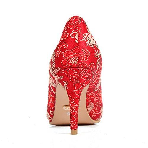 AllhqFashion Femme Pointu Fermeture D'Orteil Stylet Matière Souple Couleurs Mélangées Tire Chaussures Légeres Rouge