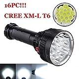 OHQ Lampe De Poche 12T6 Noir 38000Lm 16X Lampe Torche Xm-L T6 Led 3 Mode Lampe Torche De LumièRe ImperméAble à L'Eau (Noir)