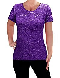 EyeCatch - Ladies Short Sleeve Floral Lace Tops Womens Blouse Shirt