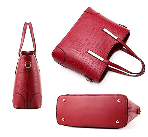 EssVita Borsa Set per le donne PU Pelle Borsa a Tracolla Tote Bag Borse a mano 2 Pezzi Borse borsa Vino Rosso