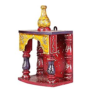 APKAMART Handcrafted Wooden Temple for Puja - 10 Inch - Hanging Temple for Puja,Home Decor and Gifts