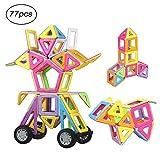 Ausear Magnetische Bausteine, 77tlg Pädagogische Bausteine Sets, Magnet Bausätze Spielzeug für 3 Jahre Alte Jungen und Mädchen